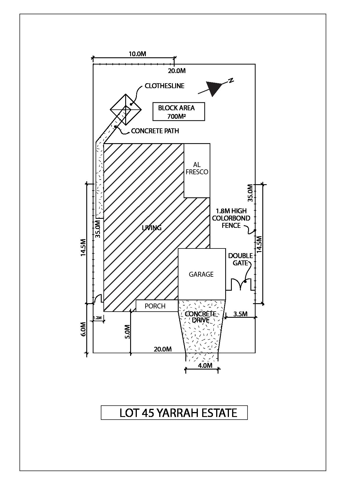 Lot 45 Yarrah Site Plan - Kimberley